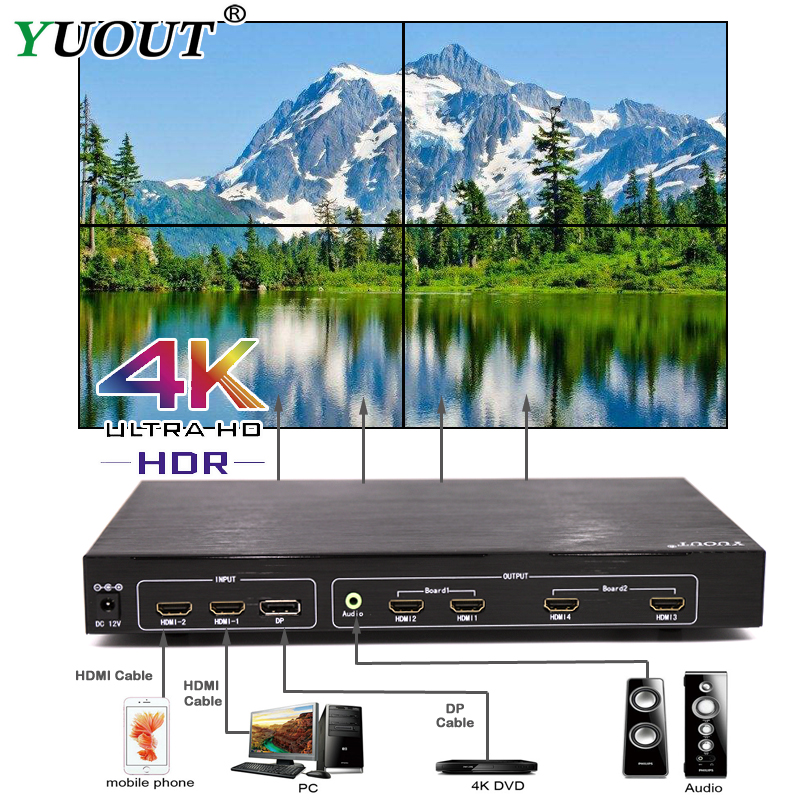 Workmanship In Ambitious 4khdmi 2x2 Video Wall Controller 2 Hdmi And 1 Dp Tv Processor 4 Tv Shows A Screen Splicing For Led/lcd Display Free Shipping Dhl Exquisite