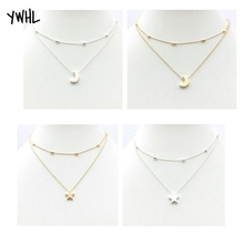 The most beautiful star in the sky moon necklace of double layer female type, contracted vogue reveals beauty women