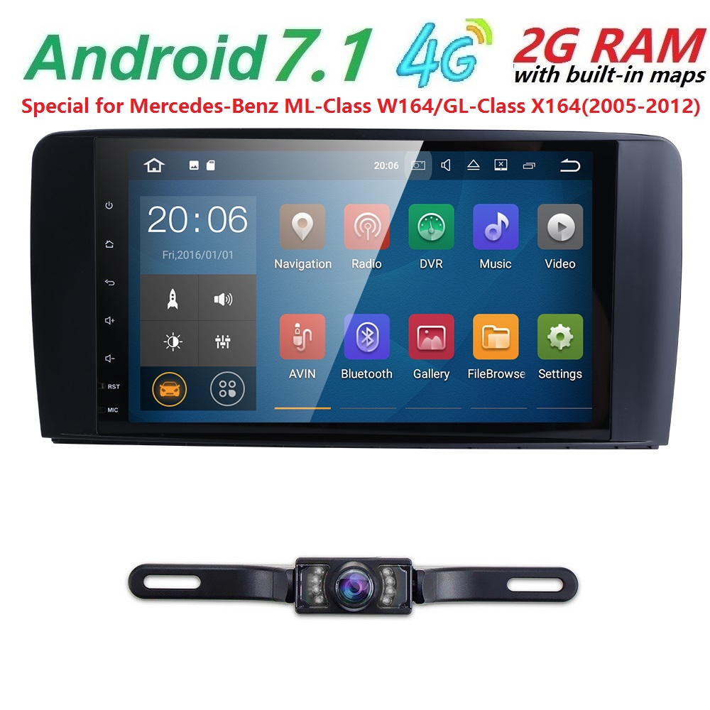 9''2 din Car Radio Android 7.1 Car DVD GPS Player For Mercedes Benz ML W164 W300 ML350 ML450 ML500 GL X164 G320 GL350 GL450GL500 custom fit car floor mats special for w164 w166 mercedes benz ml gle ml350 ml400 ml500 gle300 gle320 gle400 gle450 gle500 liner
