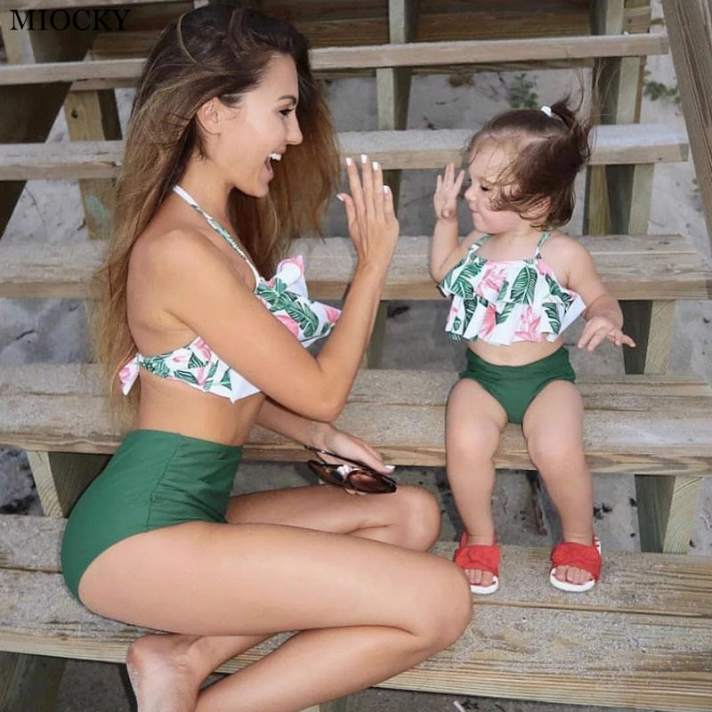 2019 Swimsuits Mom Daughter Summer season Ruffled Leaf Print Bikini Set Household Look Mother and Daughter Matching Outfits Swimwear E12 Aliexpress, Aliexpress.com, On-line buying, Automotive, Telephones & Equipment, Computer...