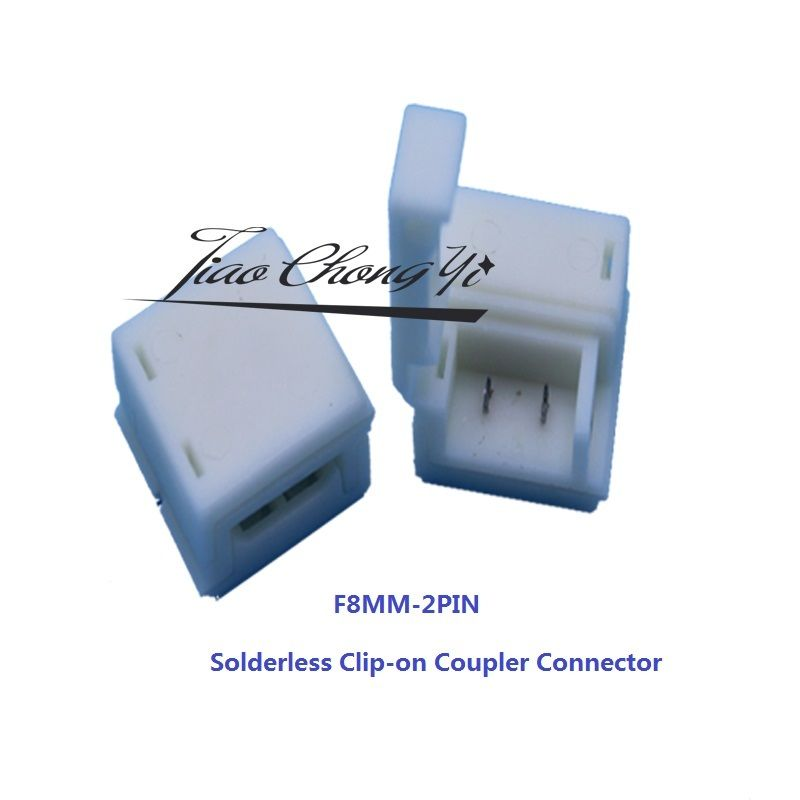 100pcs Solderless Clip-on Coupler Connector 10mm 2pin for 5050 LED Strip Light