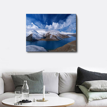 Abstract Canvas Calligraphy Printing Snow Mountain River Blue Sky Cloud Home Living Room Bedroom Decoration Wall Artwork