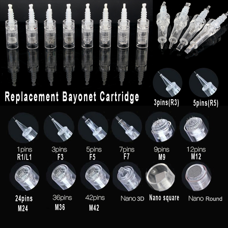 Bayonet Cartridge Replacement For Derma Pen Micro Needle 1/3/5/7/ 9 Pin / 12 Pin / 24 Pin / 36 Pin 42 / Nano Mym/N2/M7/M5 Needle