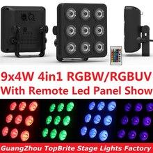 12xLot LED Par Can Light 9x4W 4in1 RGBW RGBUV High Power Plastic Mini Led Panel Show Stage Lighting Beam Wash DJ DMX Disco Music