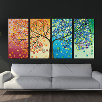 Unframe Wall Art Colourful Leaf Trees Canvas Painting Wall Art Spray Wall Painting Home Decor Canvas
