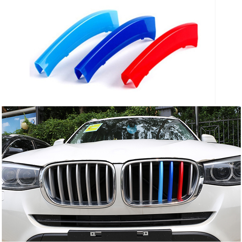3 colors 3D styling M Front Grille Grills Trim Strips Cover performance Decoration Stickers for 2011 to 2016 BMW X3 X4 F25 F26 x3 f25 x4 f26 front bumper grills for bmw x3 x4 f25 f26 2014 present model kidney grille mesh