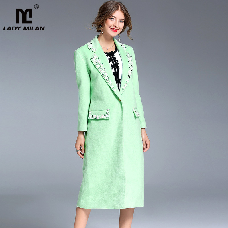 New Arrival 2018 Womens Turn Down Collar Long Sleeves Single Breasted Beaded Crystals Appliques Fashion Woolen Coats