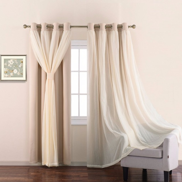 Nicetown 210 Cm Long Blocking Mix Match Elegance Beige Crushed Voile Tulle And Blackout Curtains