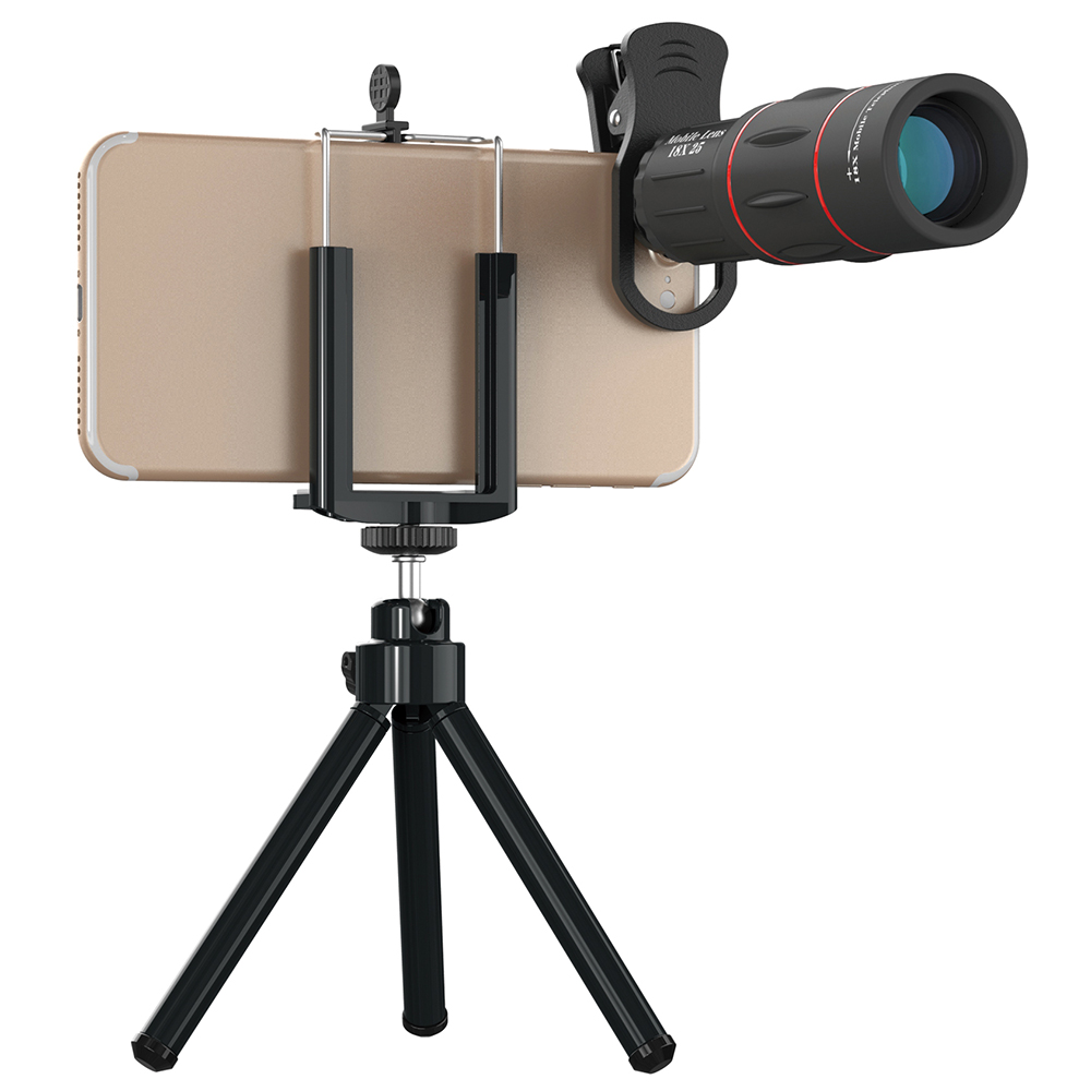 18X Teleskop Zoom Handy Objektiv für iPhone Samsung Smartphones UniversalClip Telefon Kamera mit stativ