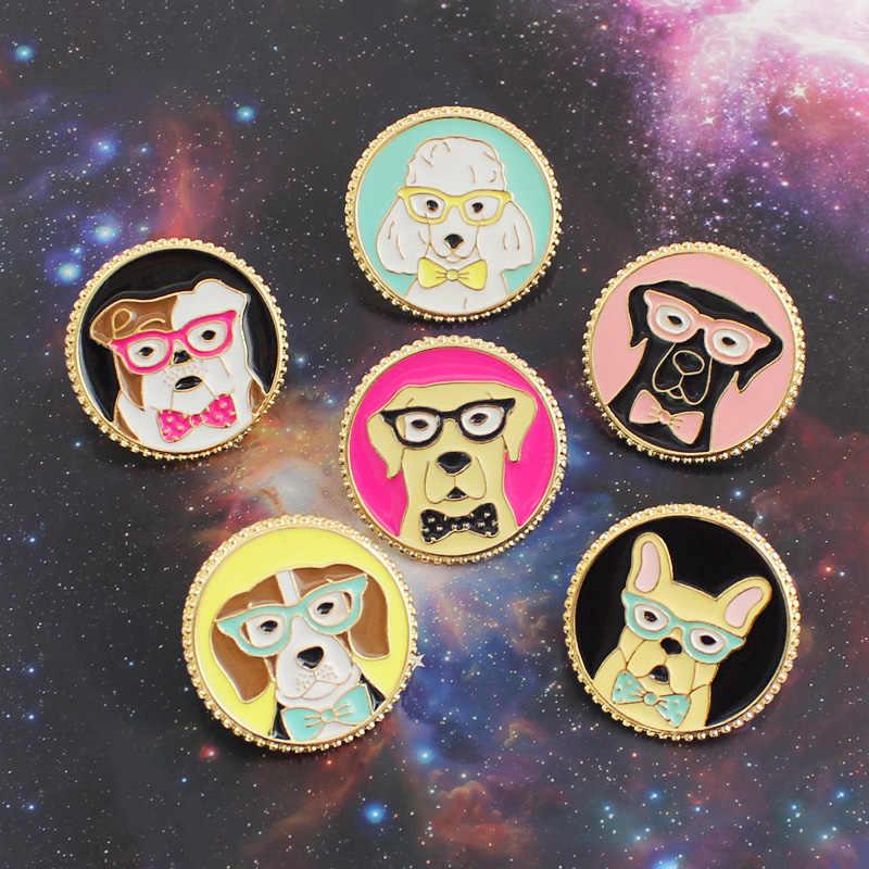 Gdhy Kartun Anjing Bros Kreatif Sepanjang Animal Anjing Labrador Buldog Emas Retriever Jarum Enamel Kelapak Lencana untuk Anak-anak Perhiasan