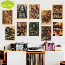 Attack on Titan A Style Japanese Cartoon Comic Kraft Paper Wall Stickers Bar Poster Retro Decorative Painting