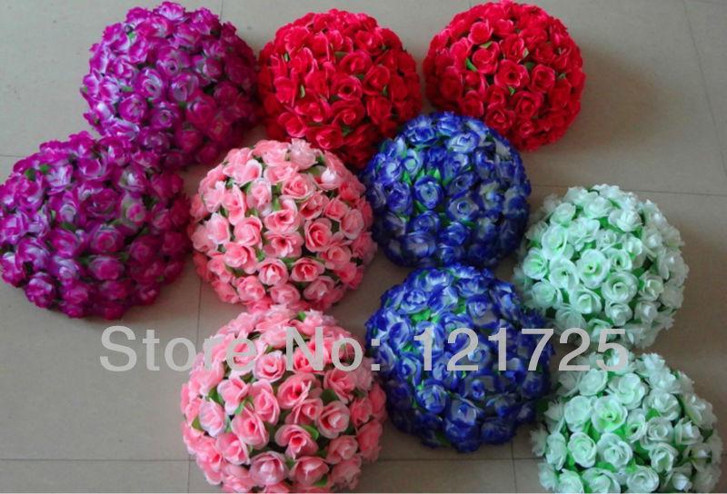 4 шт./лот 38 см искусственного шелка Роуз Висячие цветочные шары для Свадебные украшения