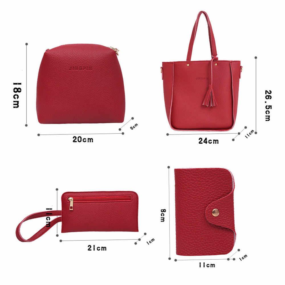 4 Pcs Tas Wanita Kulit PU Kasual Tas Vintage Tas Bahu Kapasitas Besar Dompet Warna Solid Kartu Pemegang Grosir