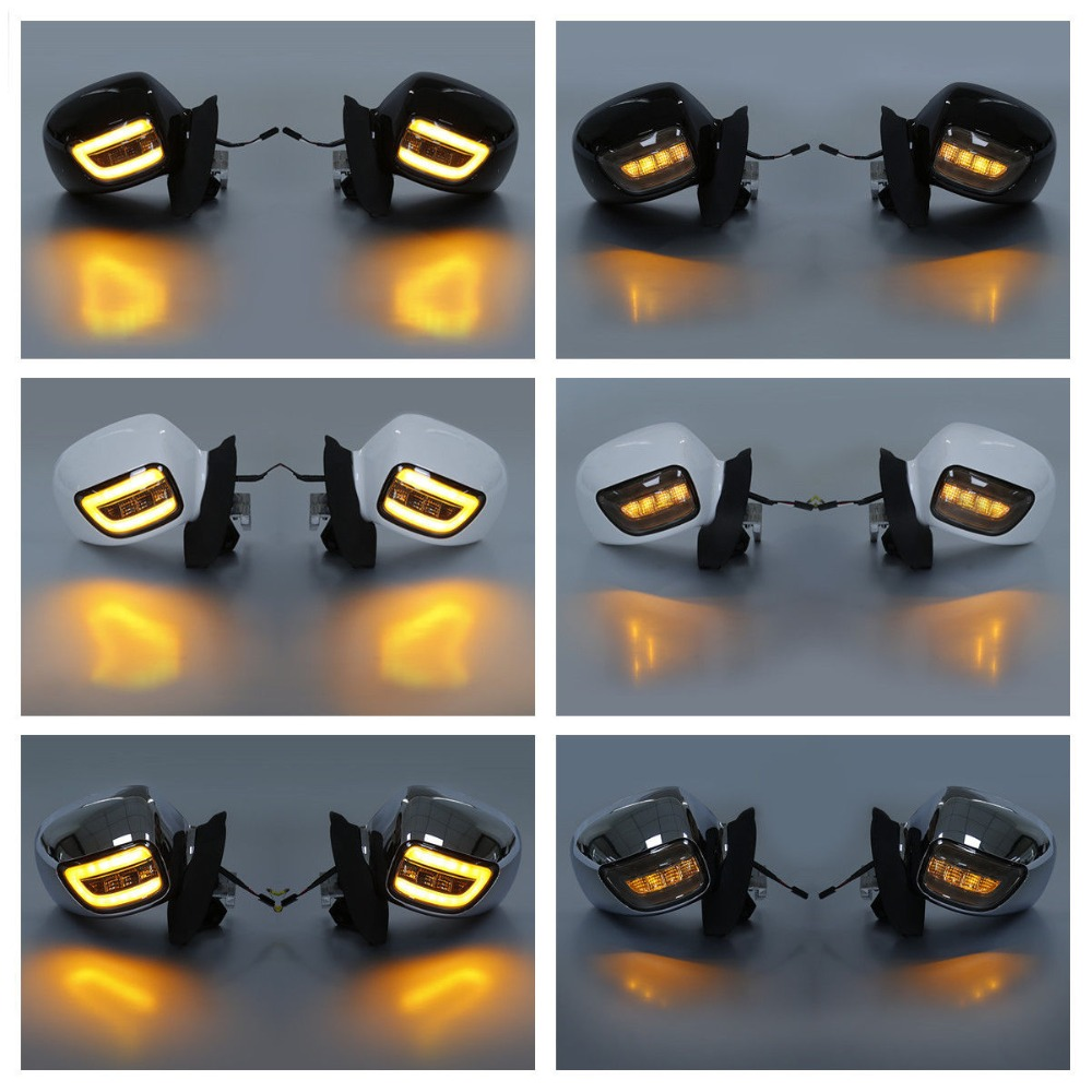 Rear View Mirrors Smoke Lens LED Turn Signals For Honda Goldwing GL1800 2001 12 Black White Chrome in Side Mirrors Accessories from Automobiles Motorcycles