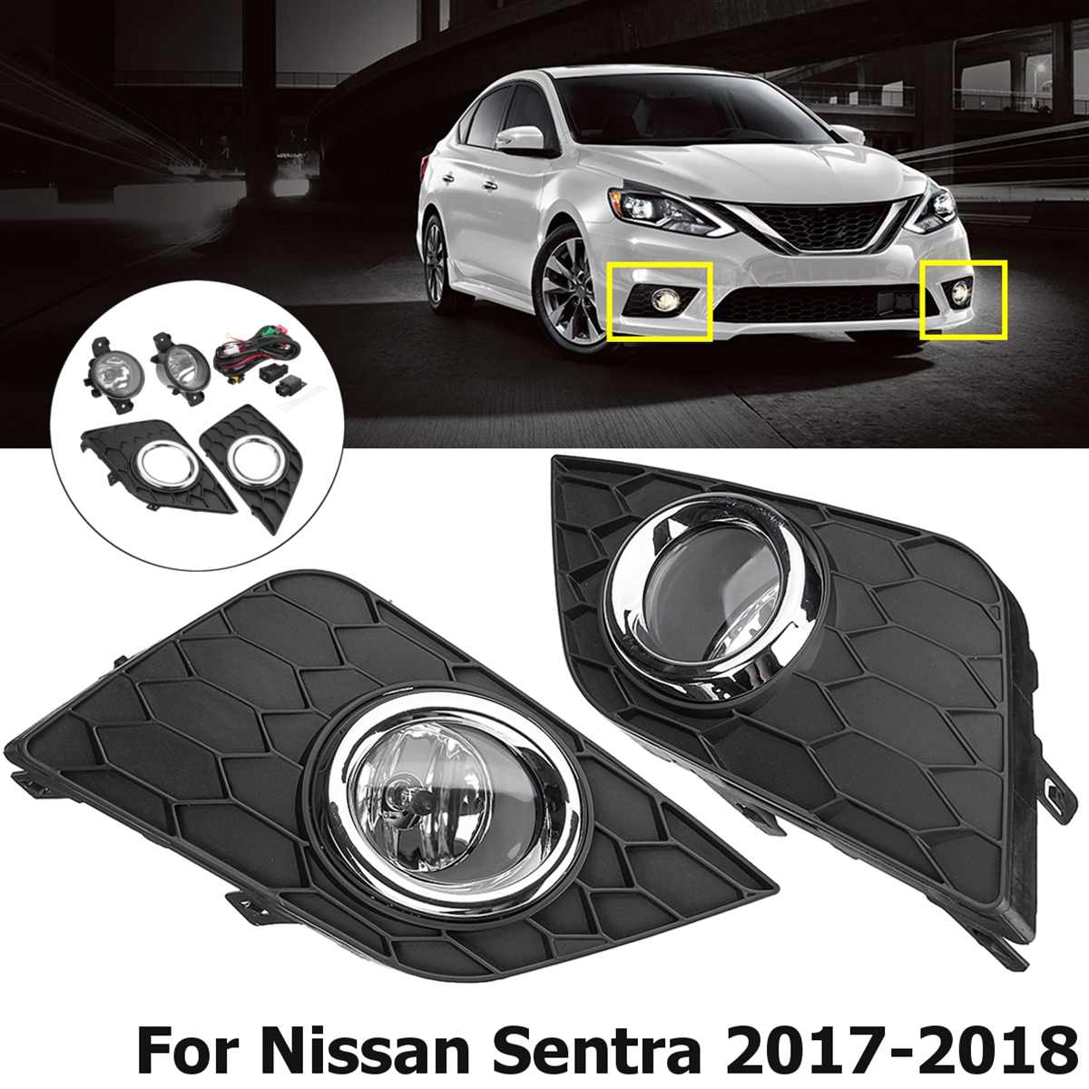 Fog Light Cover Bezel Grille Insert Right Passenger for 13-15 Nissan Sentra SR