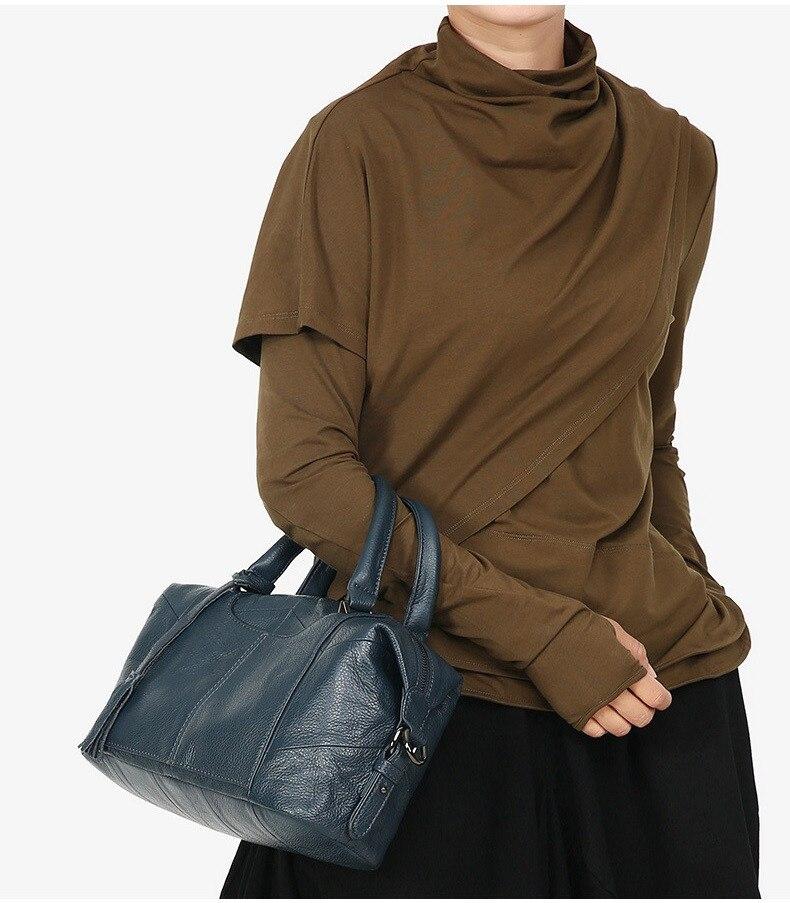MJ Women Genuine Leather Handbag Female Real Cow Leather Tote Bag Ladies Large Capacity Shoulder Bag Crossbody Bags for Women (6)