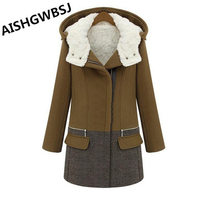 AISHGWBSJ New Winter Women cashmere coat Fashion Contrast Color Turn-Down Collar Zipper Full Sleeve Thick Trench  HRL041