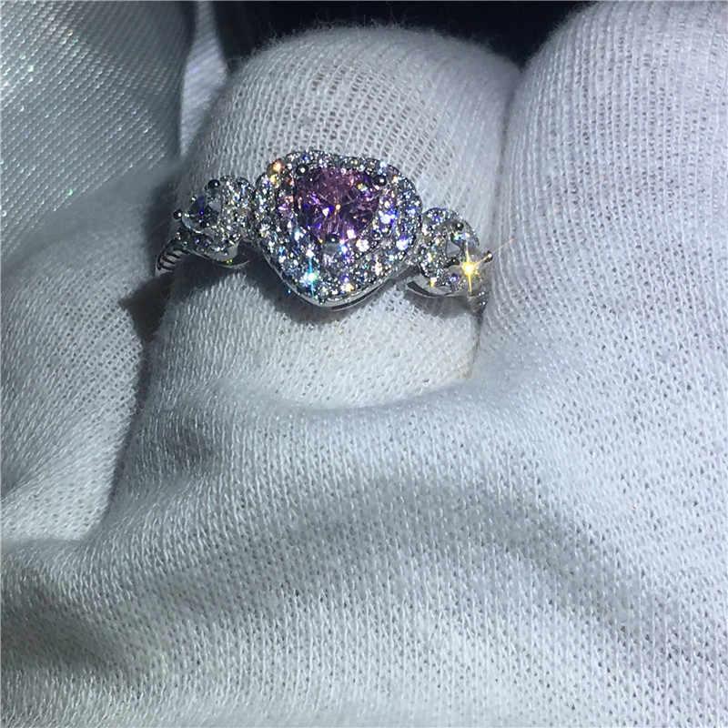 Choucong Сердце Форма Настоящее Soild 925 пробы Серебряное кольцо розовый AAAAA циркон обручальное кольца для мужчин и женщин Bijoux