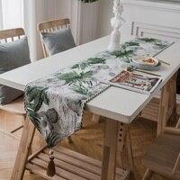 Rustykalny stół w jadalni runner zielony/granatowy roślin haft Bed Runners home TV szafka herbata wystrój stołu runner 32*180/32*200/32*220 w Bieżniki od Dom i ogród na