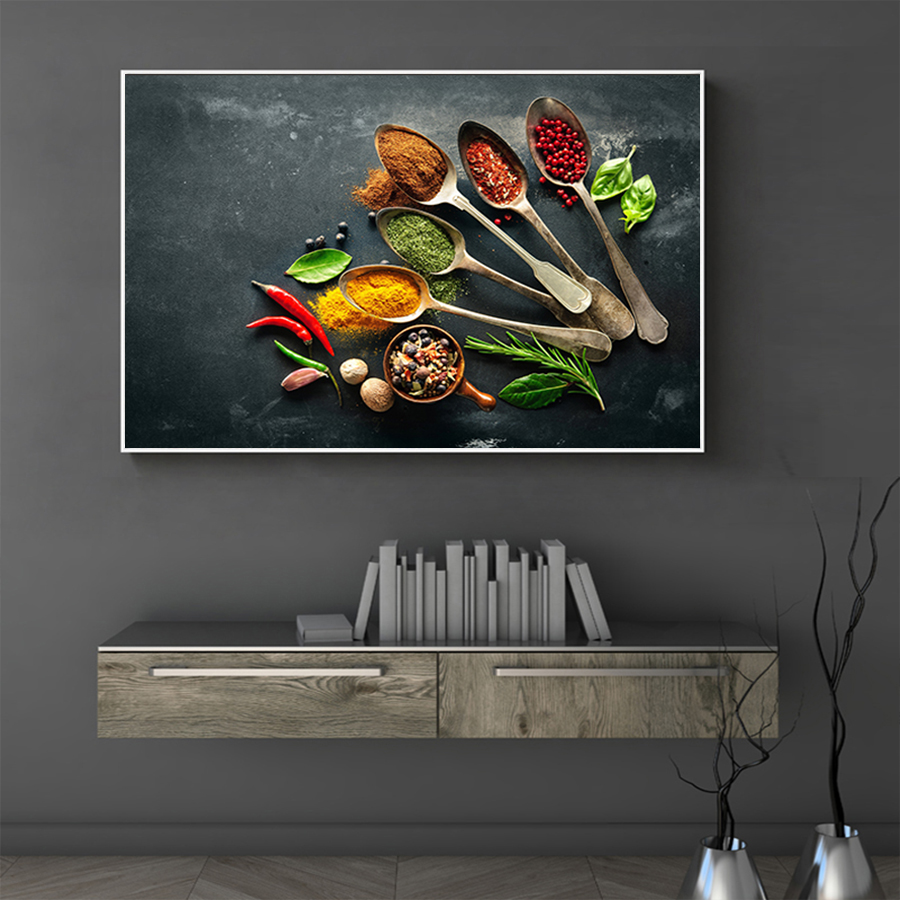 Modern Kitchen Wall Art Canvas Painting Seasoning Picture Print On