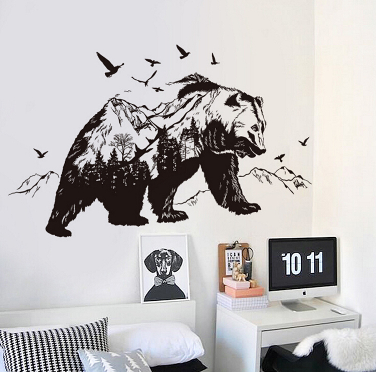 Mountain Black Bear Birds Large Wall Stickers Home Decor Living Room  Bedroom Art Decals Wallpaper Removable Wall Sticker In Wall Stickers From  Home U0026 Garden ...
