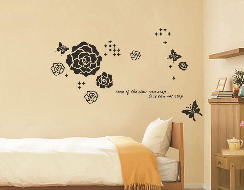 Flower Butterfly Decoration Poster Wall Decal Quotes Bedroom Princess Love Decor Adhesive Sticker Bathroom Mirror