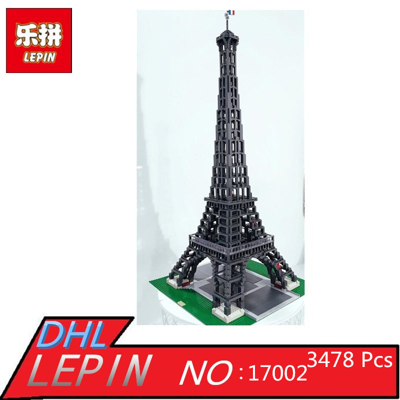 LEPIN 17002 The Eiffel Tower Model Building Blocks Bricks Kit Compatible With 10187 series s 3d puzzle paper diy papercraft double decker bus eiffel tower titanic tower bridge empire state building