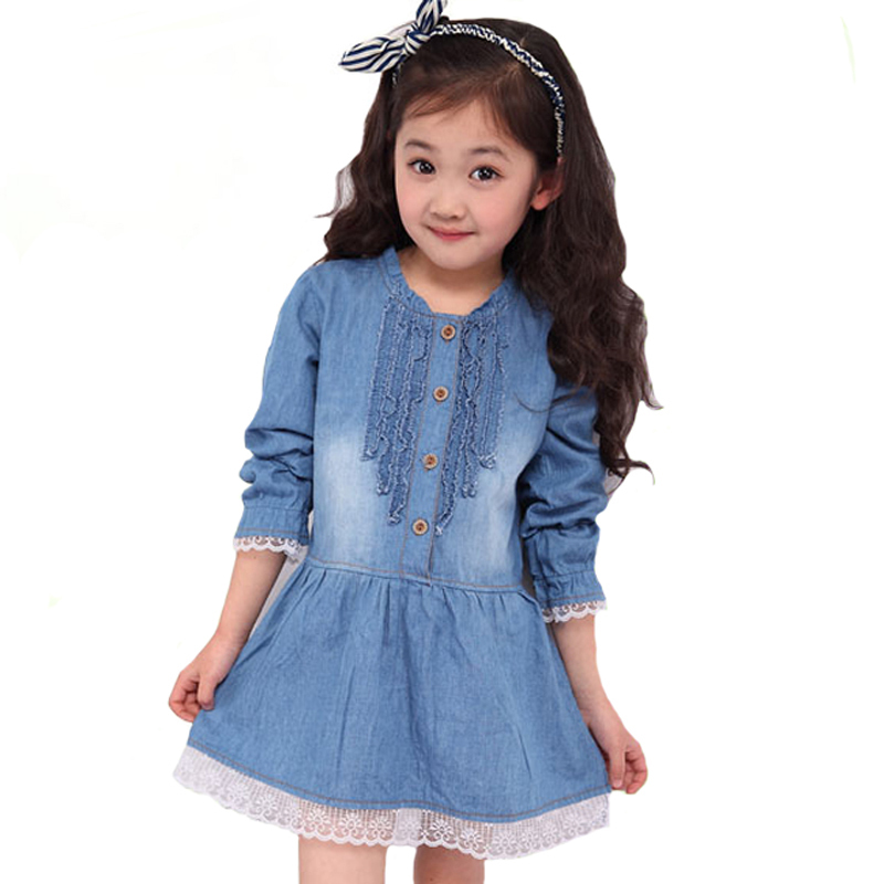 b8089f40926 Autumn Kids Dresses Fashion Denim Lace Girl Dress Spring Fall Long sleeve  Children Princess Dress For Girls Clothes Outfits-in Dresses from Mother    Kids on ...