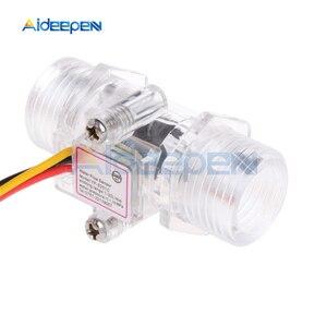 """Image 2 - Interruptor de Sensor de flujo de agua G1/2 """"medidor de flujo de líquido Control de agua caja transparente DC 5 15V uso para calentadores de agua, etc"""