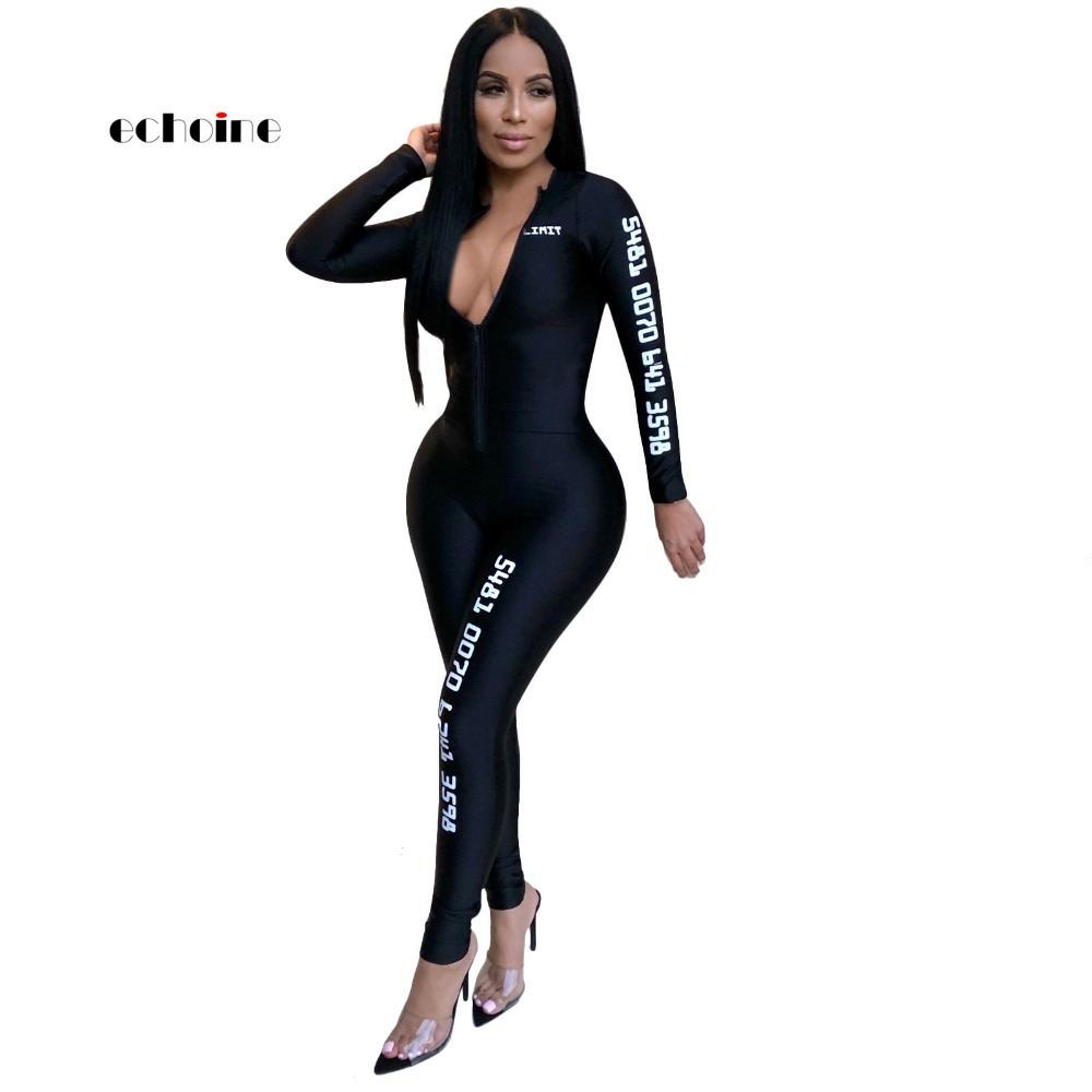 Echoine Jumpsuits For Women 2018 Fashion Slim Black Purple V-neck Long Sleeve Sport Outdoor Sexy Style Women's Jumpsuits   Rompers