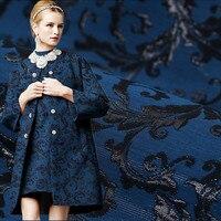 Totem de ouro fio de poliéster de algodão de linho jacquard brocado tecido para o vestido de moda de pelúcia casaco telas tela au tissu metro tissus