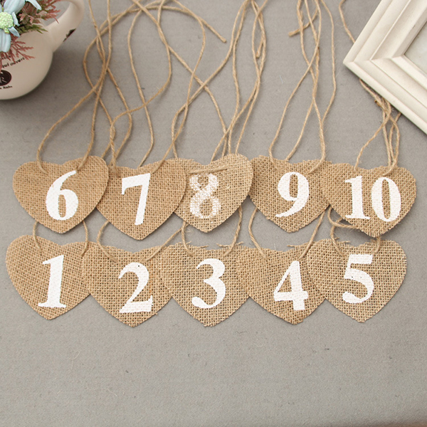 10pcs Vintage Wedding Table Numbers 1 10 Heart Shape Banner Table ...