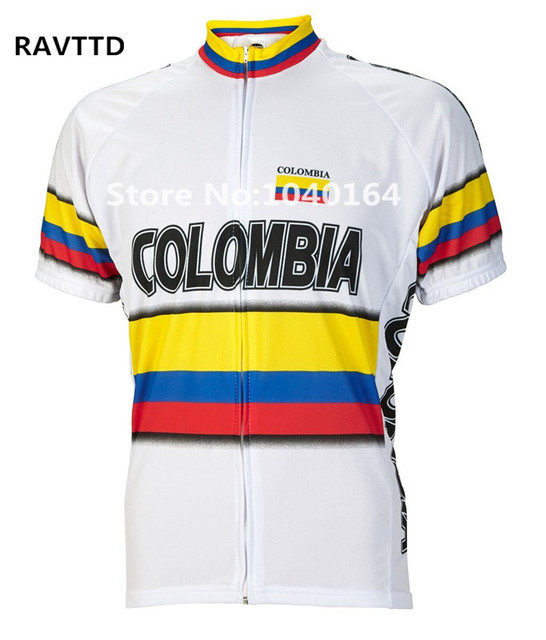 74ba7a74e7a Colombia Bike Cycling Jersey Breathable Cycling Clothing Ropa  Ciclismo Quick-Dry Bike Jerseys Top white