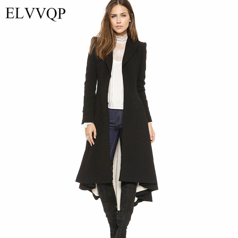 Slim Ladies Long Winter Coats Plus Size Long Sleeve Windbreaker Abrigos Mujer Invierno 2018 Korean Maxi   Trench   Coat For Women