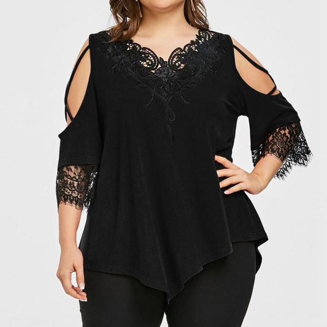 Plus Size 5XL Summer Womens Tops and Blouses Tunic Lace Patchwork Cold Shoulder Cross Tee Shirts Half Sleeve Women Clothes