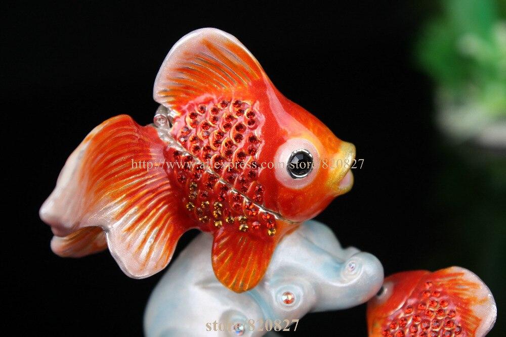 Statues de poissons à collectionner décoration bibelot boîte poissons boîte à bijoux en étain émail décor océan animaux bijoux porte-anneau - 6