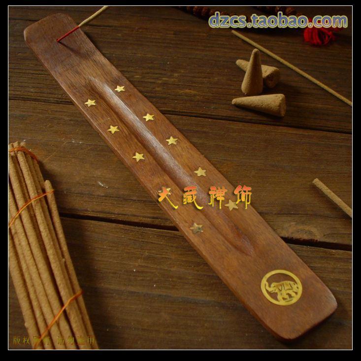 Buddhism supplies bodhi wood incense burner inlaying pattern hong board