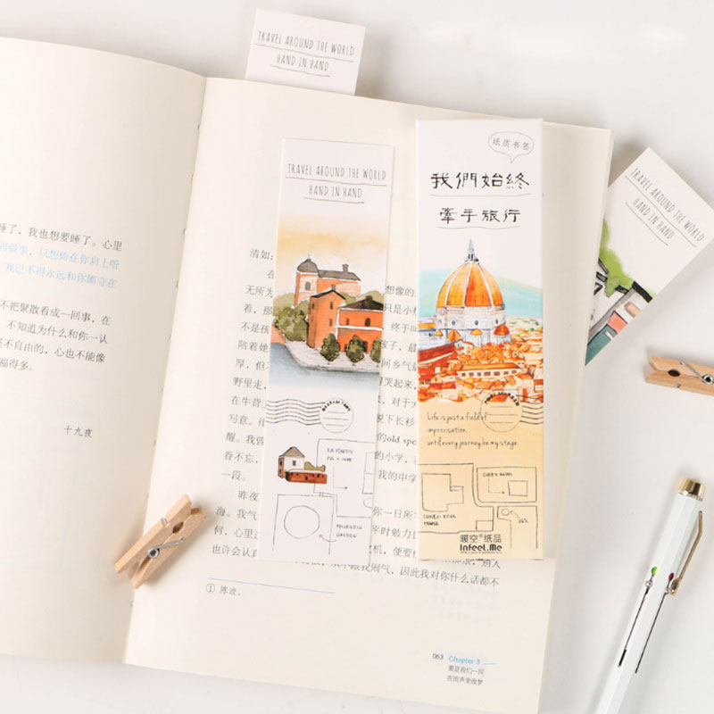 30 pcs/box Hand in hand travel paper bookmarks kawaii stationery book holder message card school supplies papelaria kids gifts