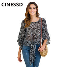 CINESSD Women Print Chiffon Blouse O Neck Long Ruffles Sleeves Loose Casual Tops Pullover Tee Shirts Tunic Bowknot Tie Blouses