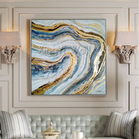 Gold art abstract canvas painting wall art pictures for living room home decor original acrylic gold boat texture quadros caudro