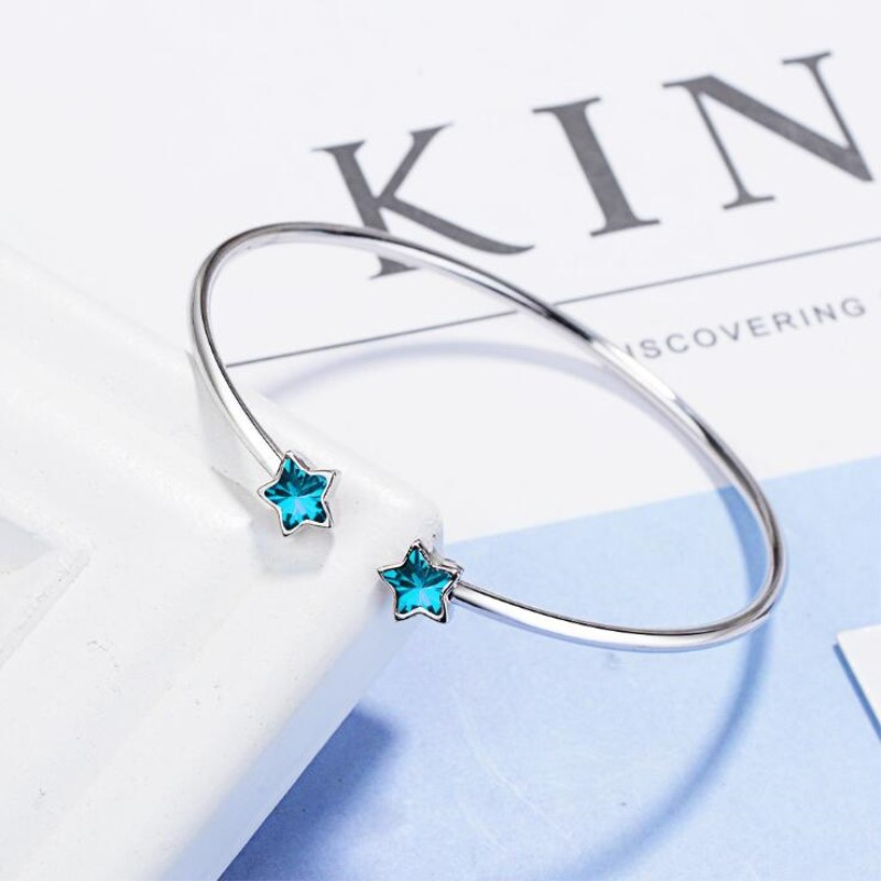Korean Style Creative Beautiful Fashion 925 Sterling Silver Jewelry Bangles Azure Five Pointed Blue Star Crystal Bracelets SB123