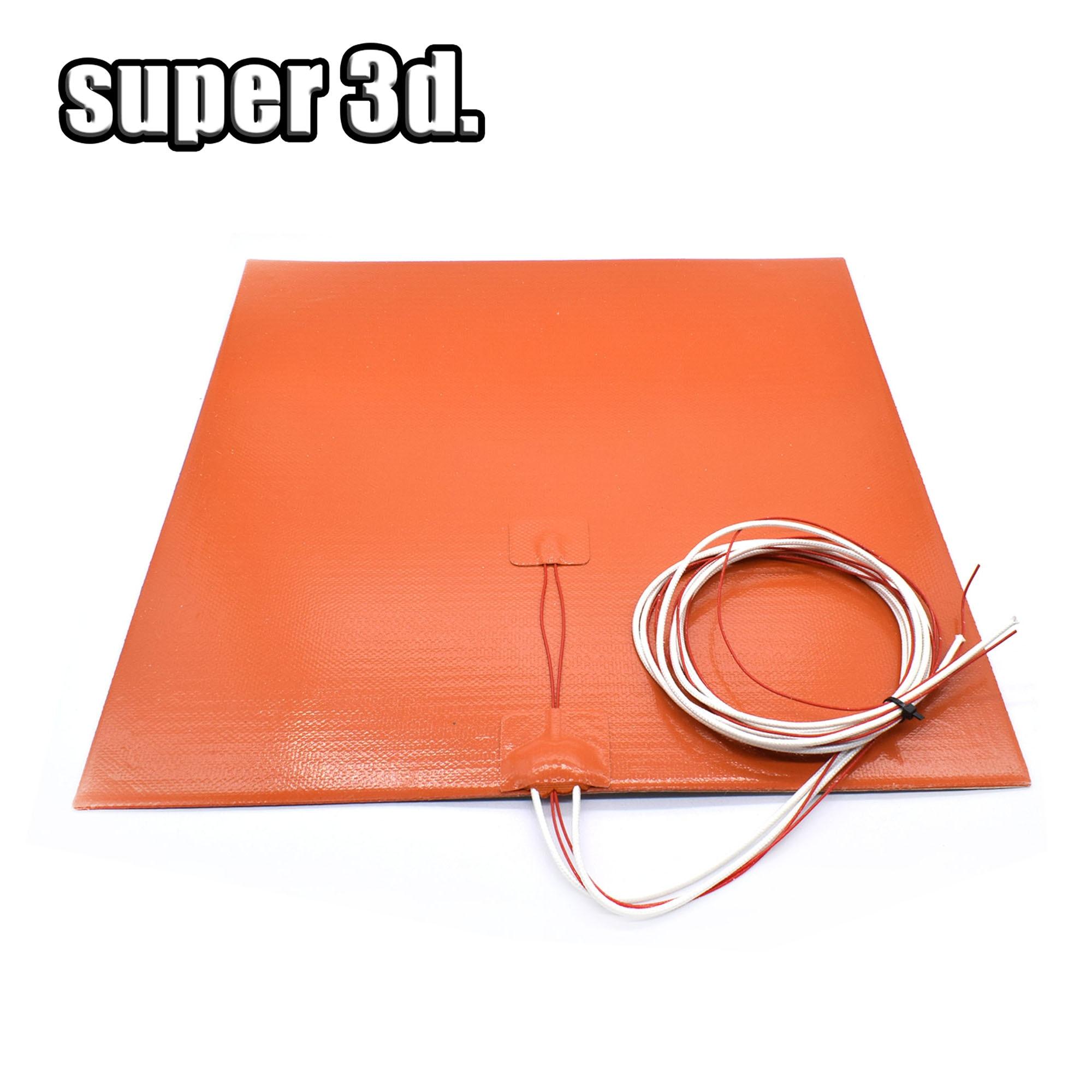 Almohadilla calefactora de cama de silicona Flexible impermeable 200x20 0/220*220/300x30 0/400mm 12V/220/110 V para piezas de impresora 3D cama caliente