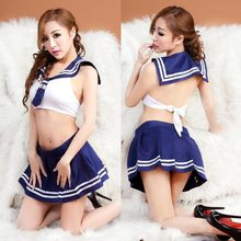 New sexy Student Uniform Lingerie Hot Erotic School Blue Plaid Tie+Mini Skirt Girl Costumes Sexy Temptation Women Underwear(China)