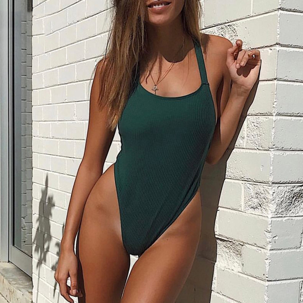 15efa9415a8a3 2018 Sexy Ribbed Swimwear One Piece Swimsuit Women High Cut Leg Monokini  Thong Trikini Pleated Bathing