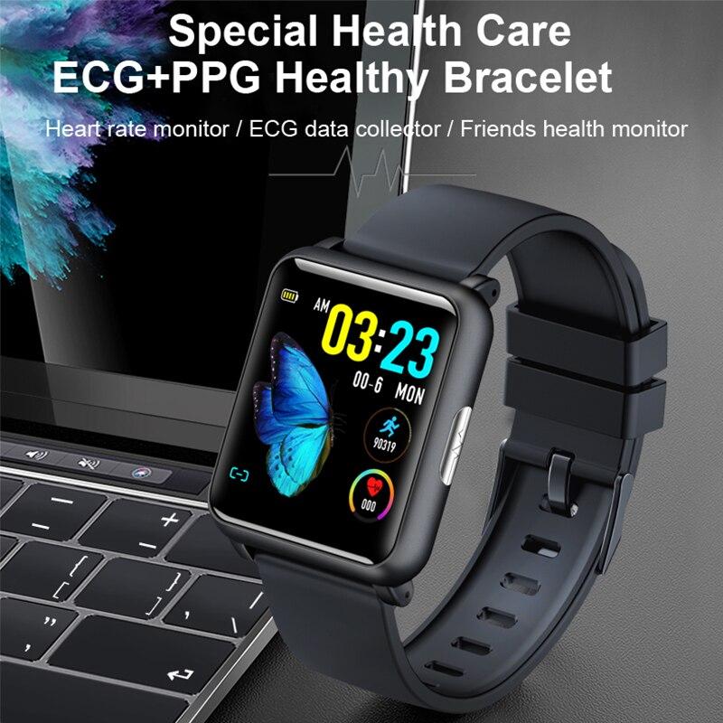 ECG + PPG pulsera sana banda inteligente monitor de ritmo cardíaco entrante recordatorio pulsera inteligente de salud especiales amigos cuidado regalo de 2019