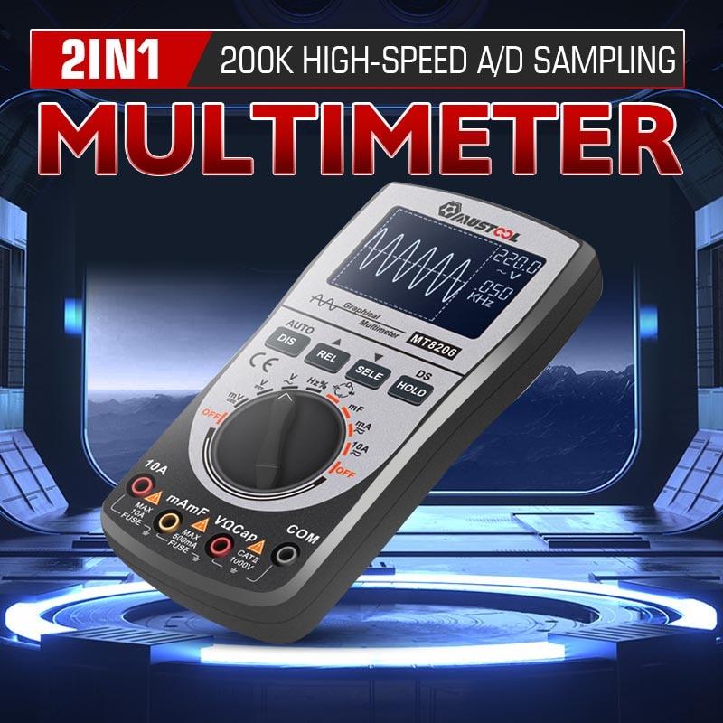 Upgraded 2 in 1 MT8206 Intelligent Digital Oscilloscope Multimeter Analog Bar Graph 200k High-speed A/D Sampling