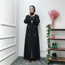Dubai Classy Diamonds Abaya Muslim Women Long Cardigan Dresses Arab Evening Kaftan with Scarf