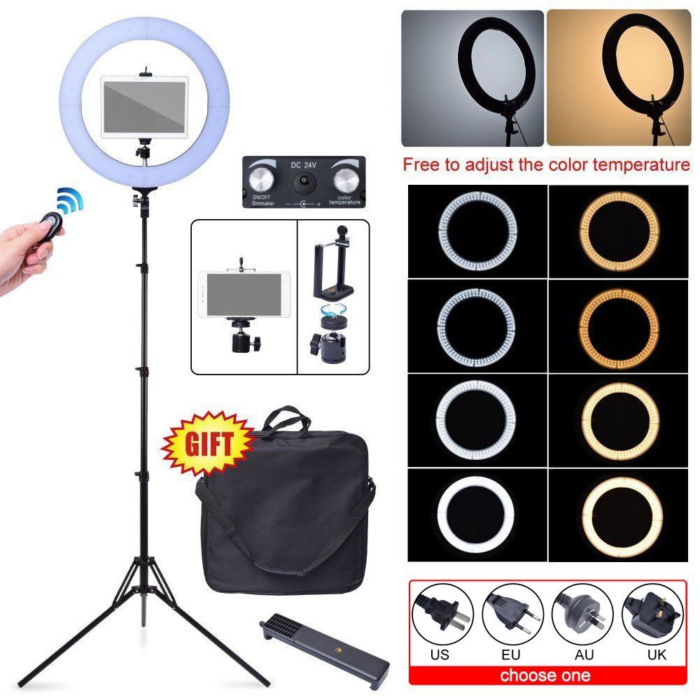 Studio 80W 18 48cm 2700K~5500K 448 LED Dimmable Ring Light + Camera Phone Holder+ Light Stand Kit for iPad iPhone Video Photo super light plastic stand for iphone 5 ipad more green