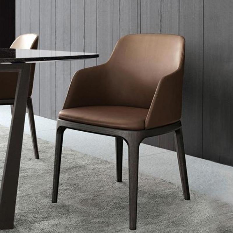 100% деревянный стул обеденный из искусственной кожи стул кофе стул с кожаное кресло Обеденная деревянная мебель гостиной диван