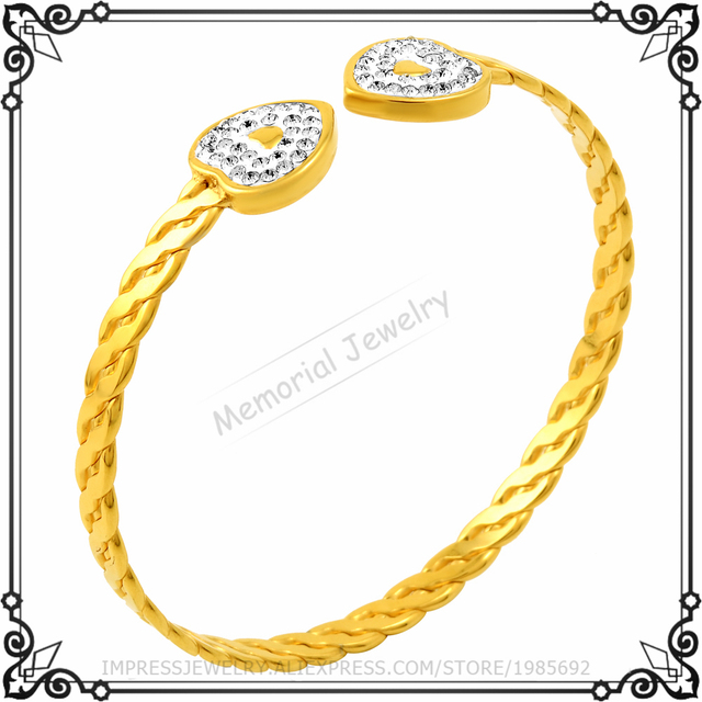 MJB0500 Real Gold Plated Twist Wire Bangle White Crystal Fashion Women Love Bracelet With Gift Bags